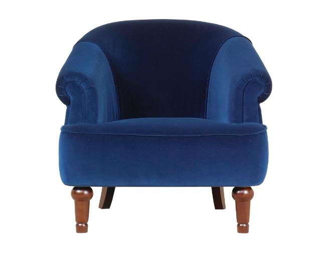 Blue Velvet Occasional Chair Front, Debenhams
