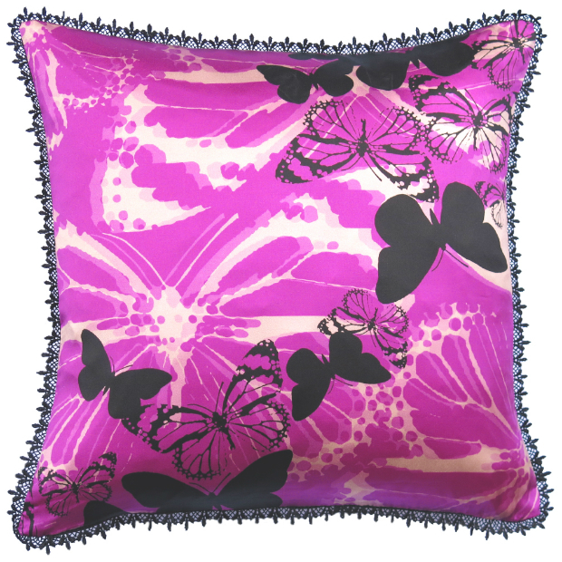 Butterfly Dance Purple Silk Cushion, In-Spaces £62.00