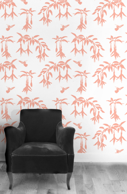 Fuschia and Hummingbird in Fuschia Pink, Kuboaa Wallpaper £57.50