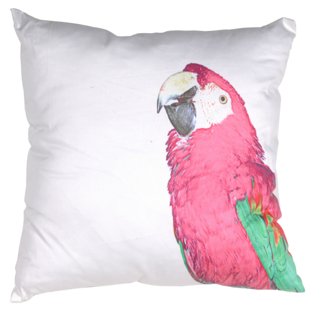 Pink Parrot Cushion, Out There Interiors £29.99