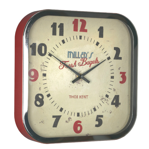 Thomas Kent Diner Clock, Red Candy £52.00