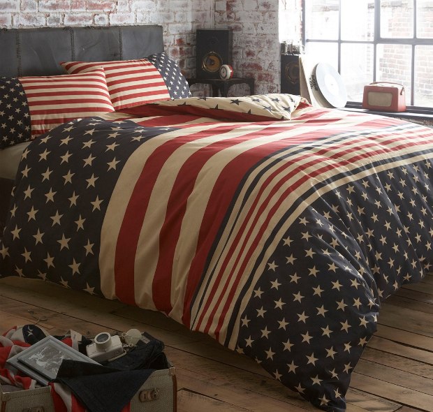 Navy 'Stars and Stripes' bed linen, Debenhams