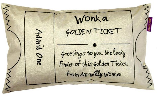 Roald Dahl Golden Ticket Cushion, Leekes £18.00