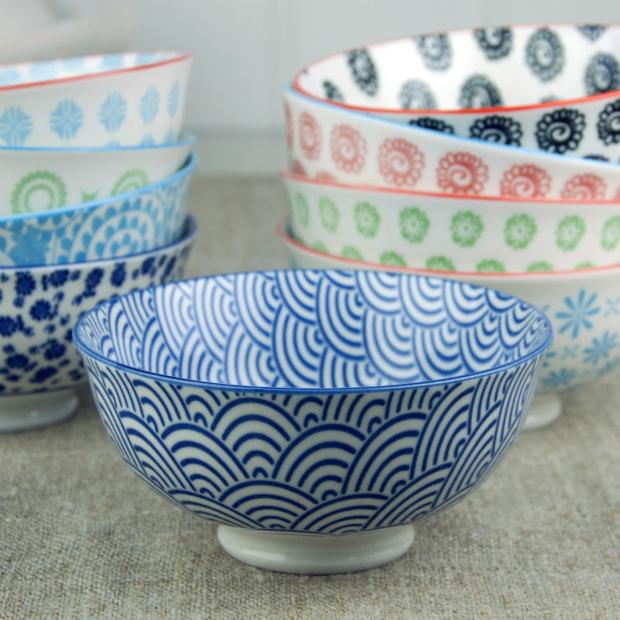 Japanese Blossom Bowl Navy Waves, Dotcomgiftshop £4.95
