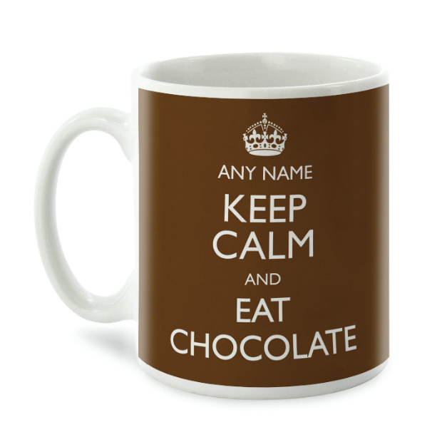 Personalised Mug - Keep Calm and Eat Chocolate, Getting Personal £9.99