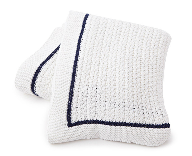 Lexington Knitted Bedspread White/Blue, Occa-Home £295.00
