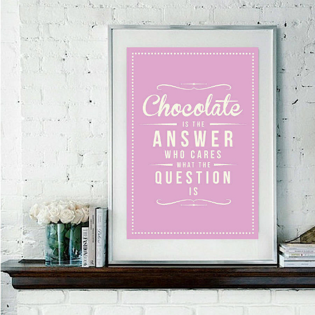 'Chocolate Is The Answer' Retro Art Print, Not on the High Street £19.00
