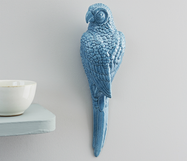 Blue Ceramic Wall Parrot, Rigby and Mac £15.95