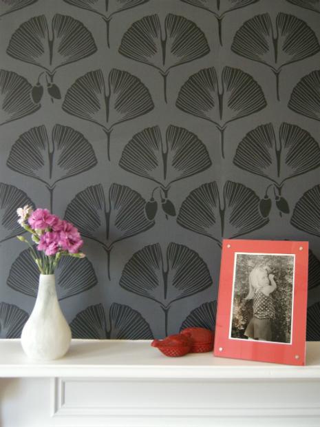 Ginko in Liquorice, Kuboaa Wallpaper £57.50