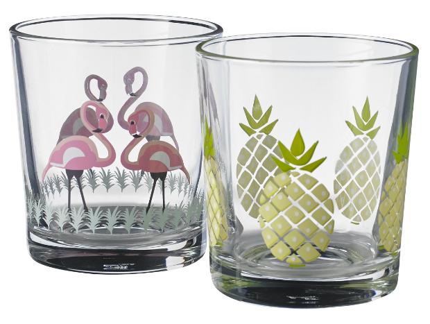 Riviera Flamingo & pineapple tumblers set, George Home