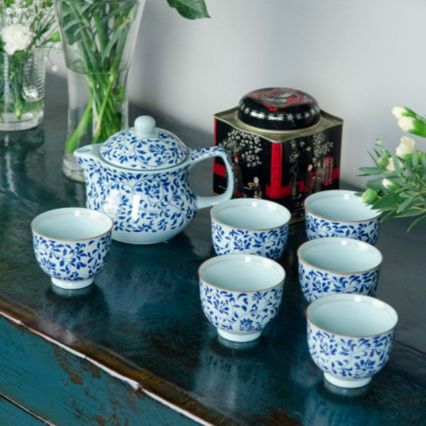 Chinese Blue & White Ceramic Teapot and Cups, Orchid Furniture £89.00