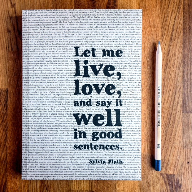 Sylvia Plath Quote Writing Journal, In-Spaces £12.00