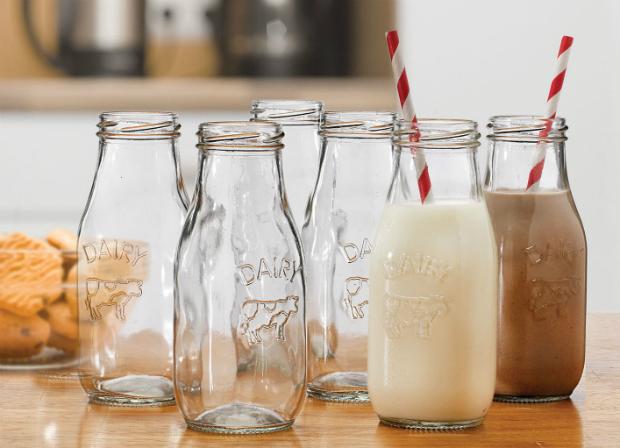 'Old School' Milk Bottles in Wooden Crate, The Oak Room £17.99