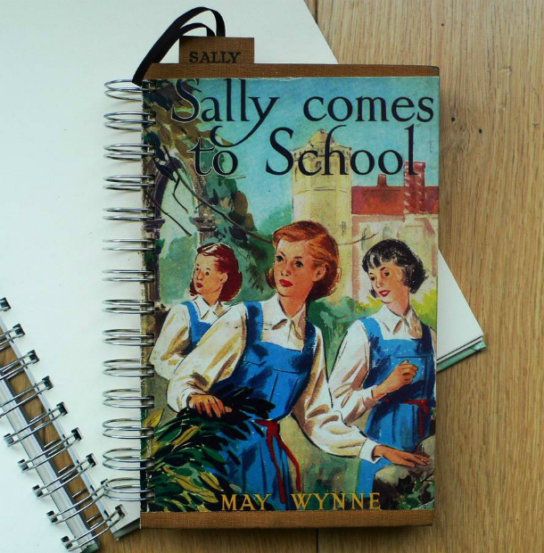 'Sally Comes To School' Upcycled Notebook, Not on the High Street £18.00