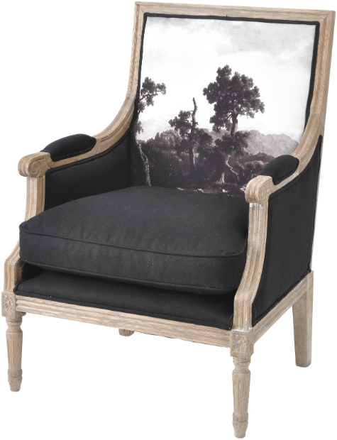 Young & Battaglia For Libra Black Printed Club Chair, Alexander & Pearl £695.00