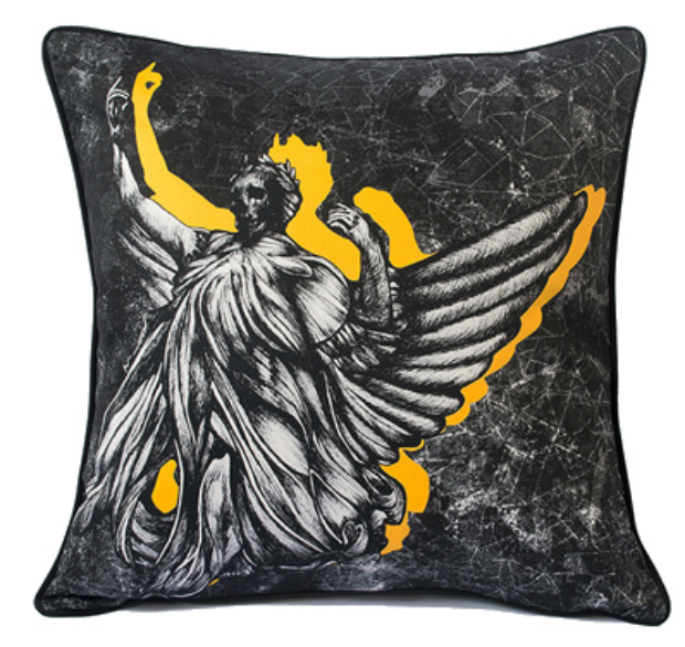 'Angel of Justice... and Occasional Death' Cushion, Adam Slade £85.00