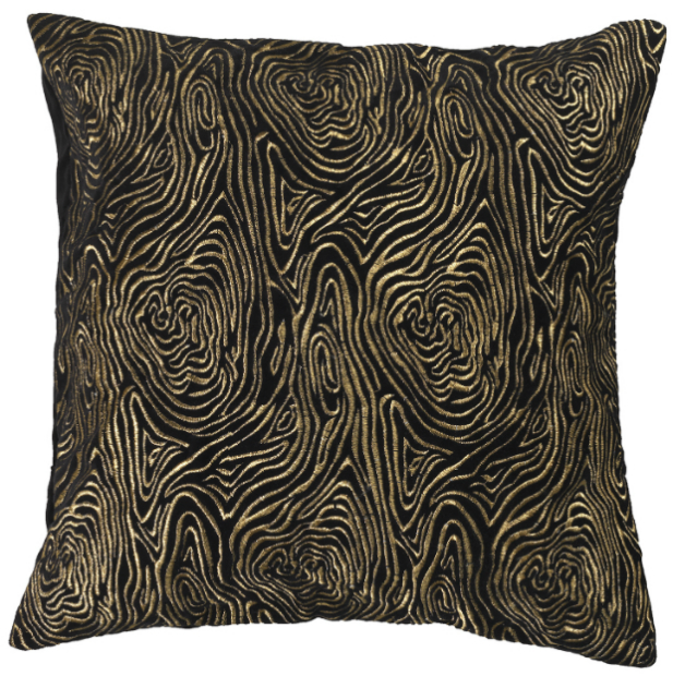 BIBA Black and Gold Swirl Embroidered Cushion, House of Fraser £45.00