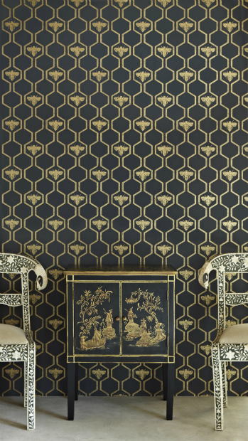 Wallpaper Barneby Gates Honey Bees Gold on Charcoal, In-Spaces £78.00