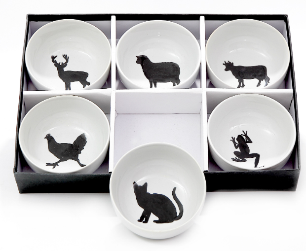 6 Cereal Bowls With Black Animals, JasmineWay £50.00