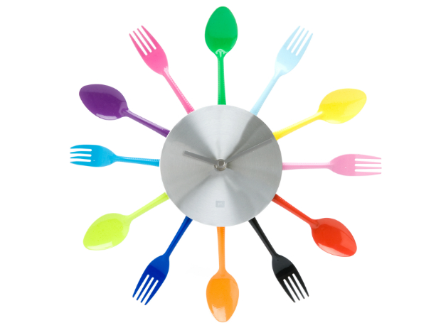 Multi Colour Utensils Clock, Red Candy £26.00