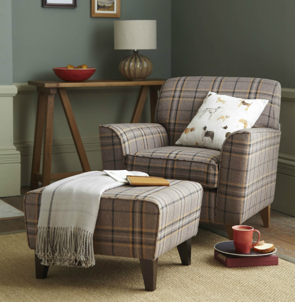 Bryon Occasional Chair £299, Byron Footstool, £99 Tesco
