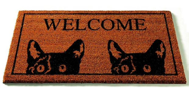 Black Tom Cat Welcome Coir Doormat, Not on the High Street £15.00