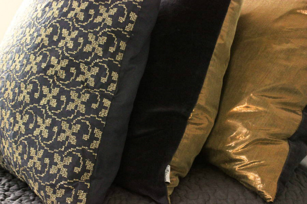 Gold, Velvet And Embroidered Cushions, Not on the High Street £48.00