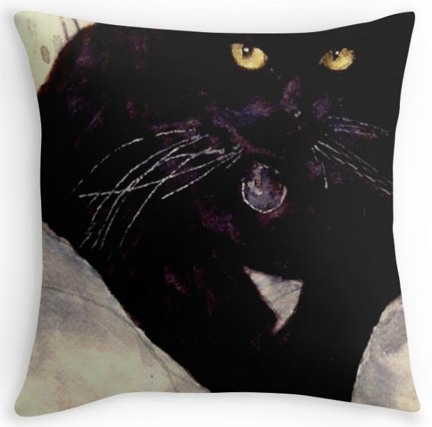 Black cat Max Cushion, Redbubble £12.40