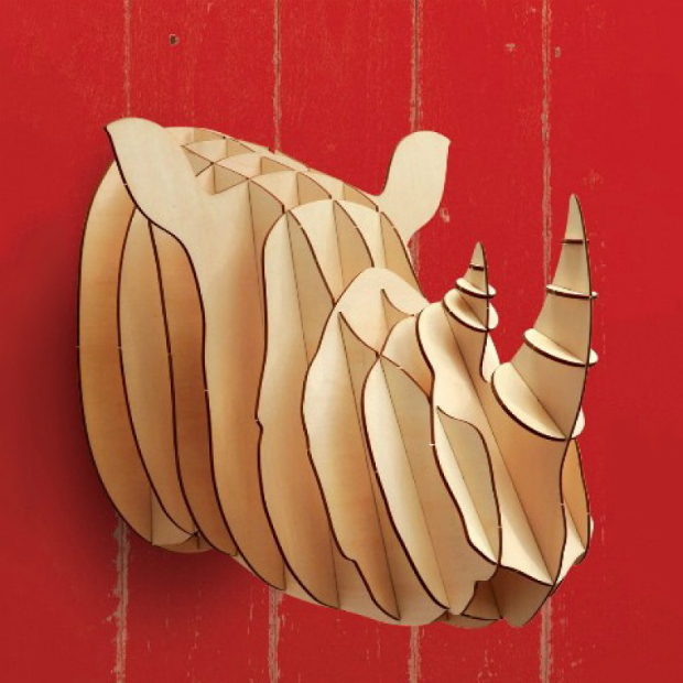 Plywood Trophy Rhino Head Wall Decor, Design 55 £30.00