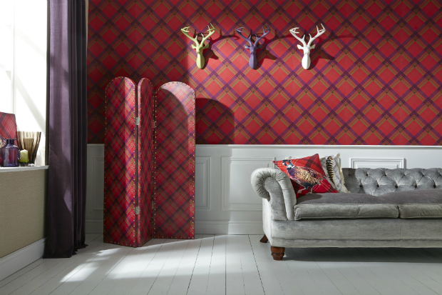 Fairburn Wallcovering Red/Plum, ARTHOUSE £16.99