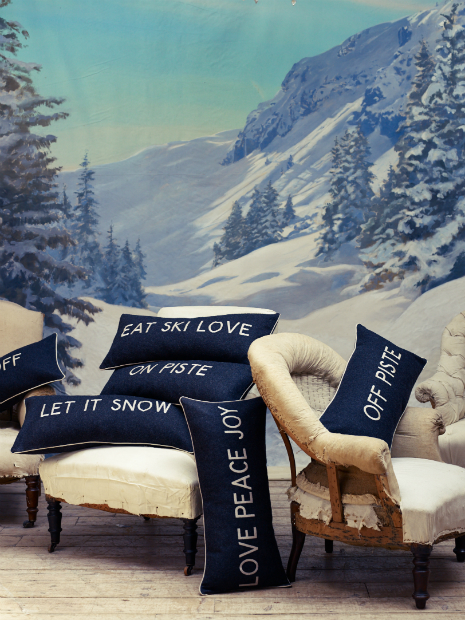 'Eat Ski Love' Cushion in Charcoal, Barbara Coupe £65.00