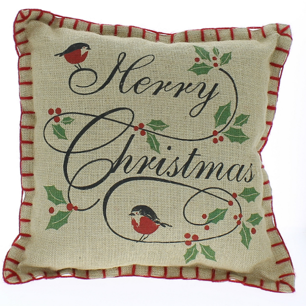 Merry Christmas hessian cushion, Berry Red £13.50