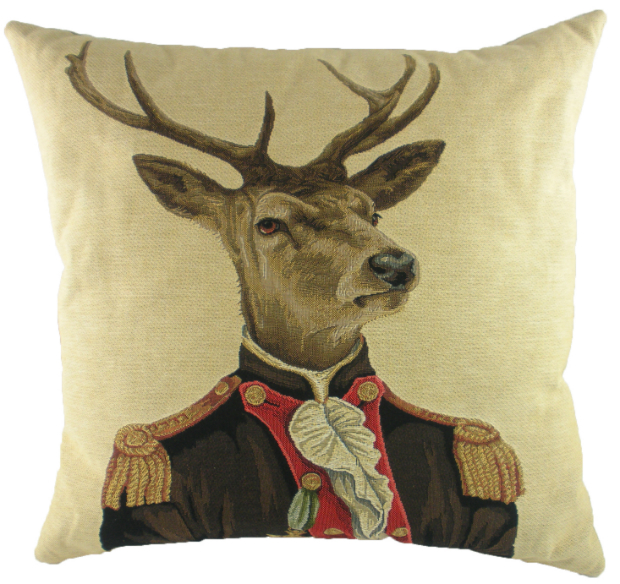 Evans Lichfield Sergeant Stag Cushion, Cotswold Trading £25.00