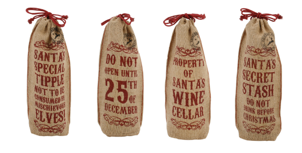 Christmas Jute Bottle Bags, Cotswold Trading £3.99