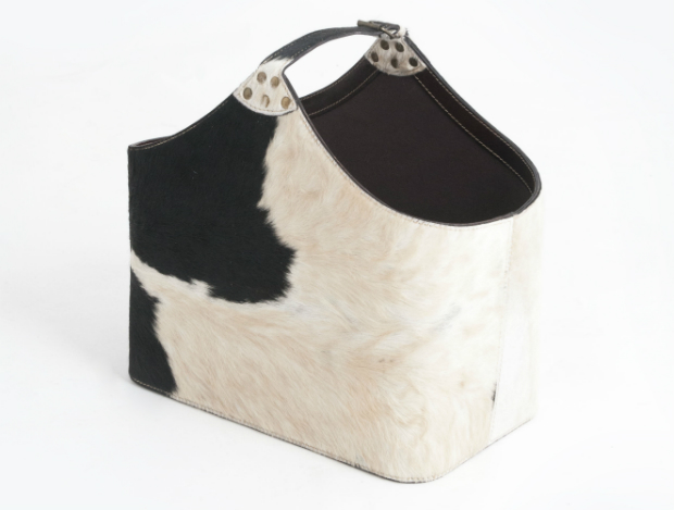 Bedford Black and White Cowhide Storage Basket, Leather & Lavender £110.00