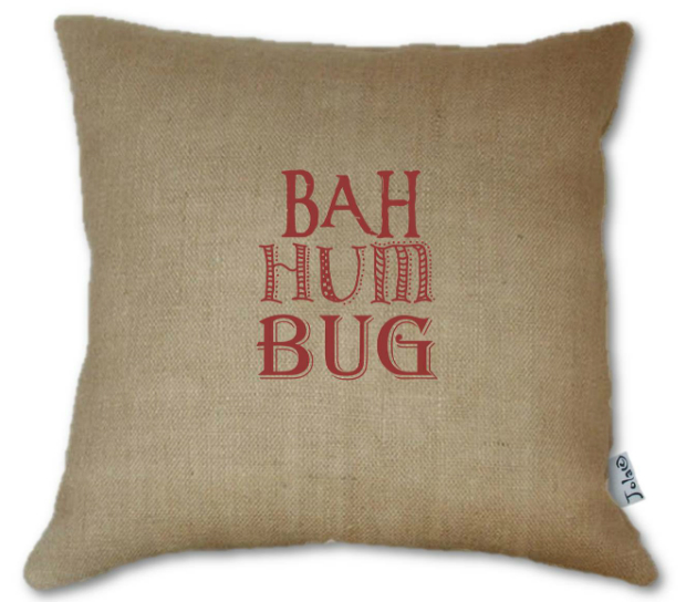 Handmade Bah Hum Bug Hessian Large Cushion, Swanky Maison £39.00