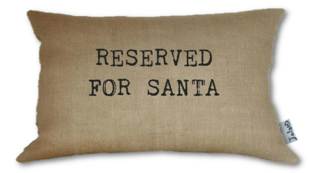 Handmade Reserved For Santa Large Hessian Cushion, Swanky Maison £35.00