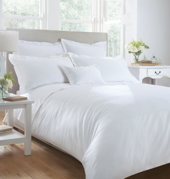 Seville 600 Thread Count Sateen King Size Duvet Cover White, The Fine Cotton Company £160.00