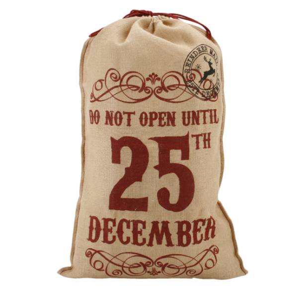 Christmas Hessian Sack, hunkydory home £7.50