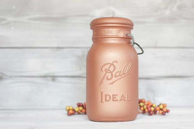 Rose gold / blush copper vintage painted mason jar, Etsy £11.65