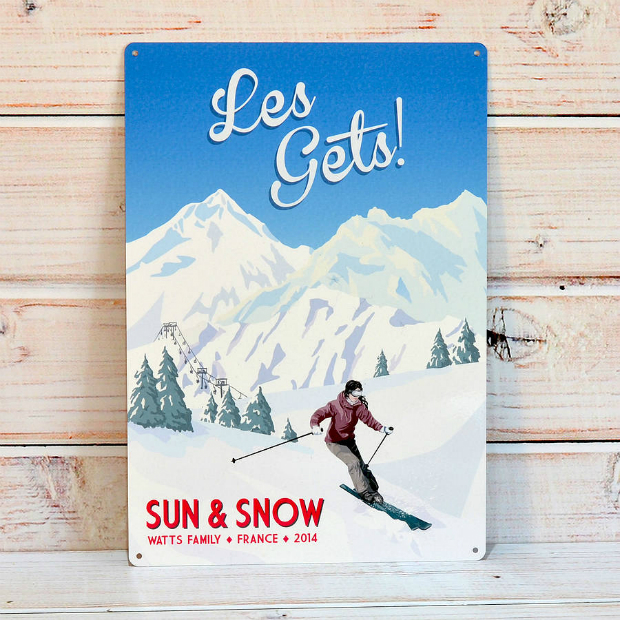 Personalised Retro Ski Sign, Oakdene Designs £17.00