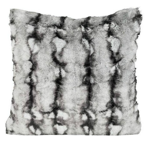 Occa Winter Black Chinchilla Faux Fur Cushion, Occa-Home £91.00