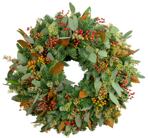 Rosehips and Magnolia Wreath, Berries & Baubles £95.00
