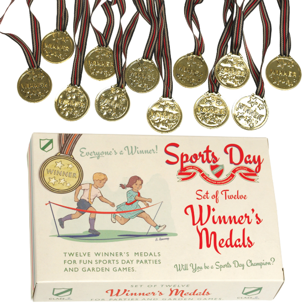 Set Of 12 Sports Day Winner's Medals, Cloth-ears.co.uk £4.95