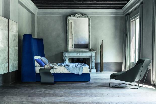 Bonaldo Basket bed in indigo blue velvet, Go Modern Furniture £2940.00