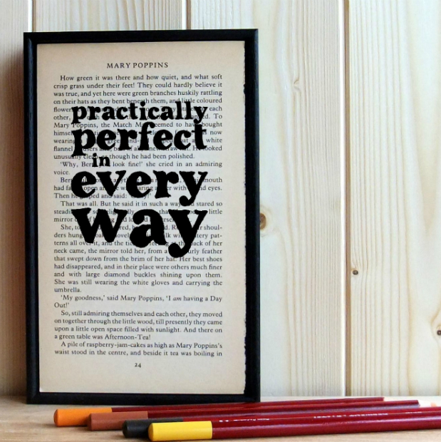 Mary Poppins Quote Book Art, In-Spaces £24.95