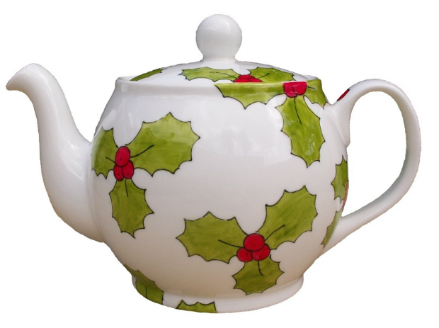 Holly Hand Painted Festive Teapot Christmas, Laura Lee Designs £30.00