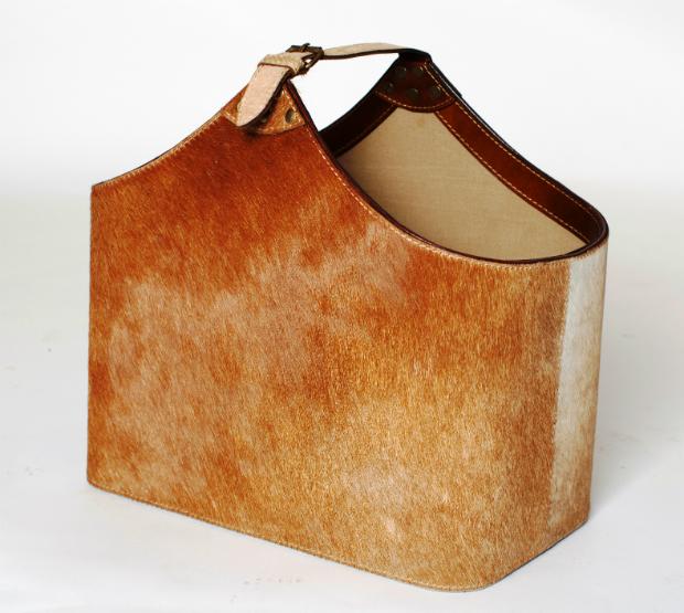 Bedford Tan Cowhide Basket, Leather & Lavender £110.00