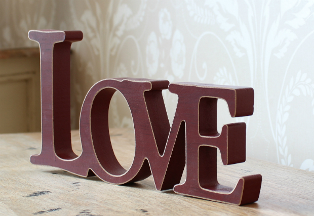 Red Wooden 'LOVE' Sanding Sign, Melody Maison £7.25