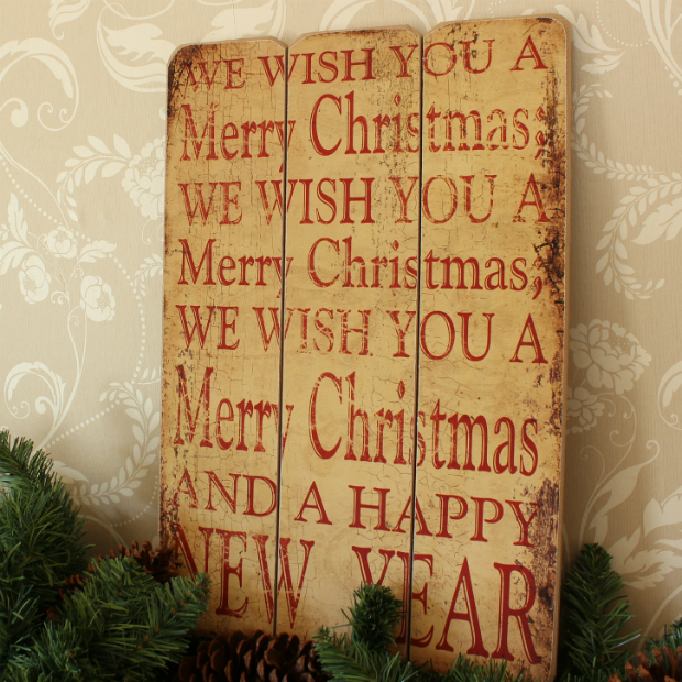 Merry Christmas Wooden Wall Plaque, Melody Maison £10.95